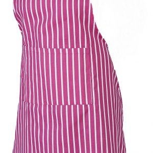 Pink butchers stripe apron with long ties