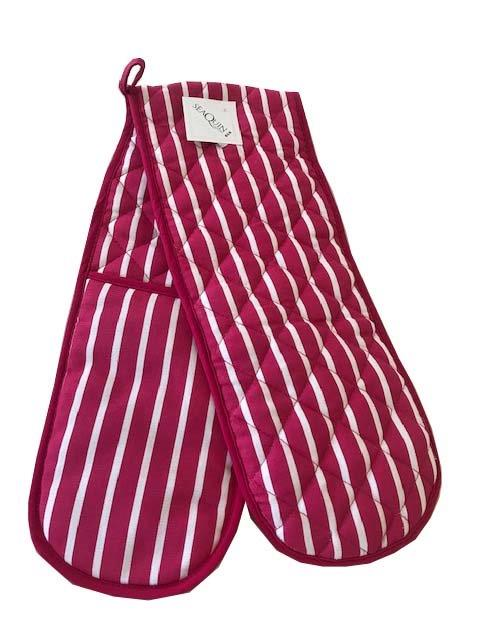 Butchers stripe pink double oven gloves