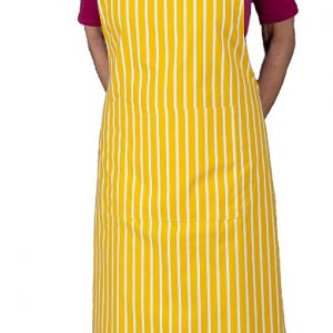 Yellow butchers stripe apron with long ties