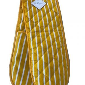Butchers stripe yellow double oven gloves