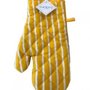 Yellow butchers stripe single oven glove