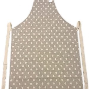 Full length apron beige polka dot