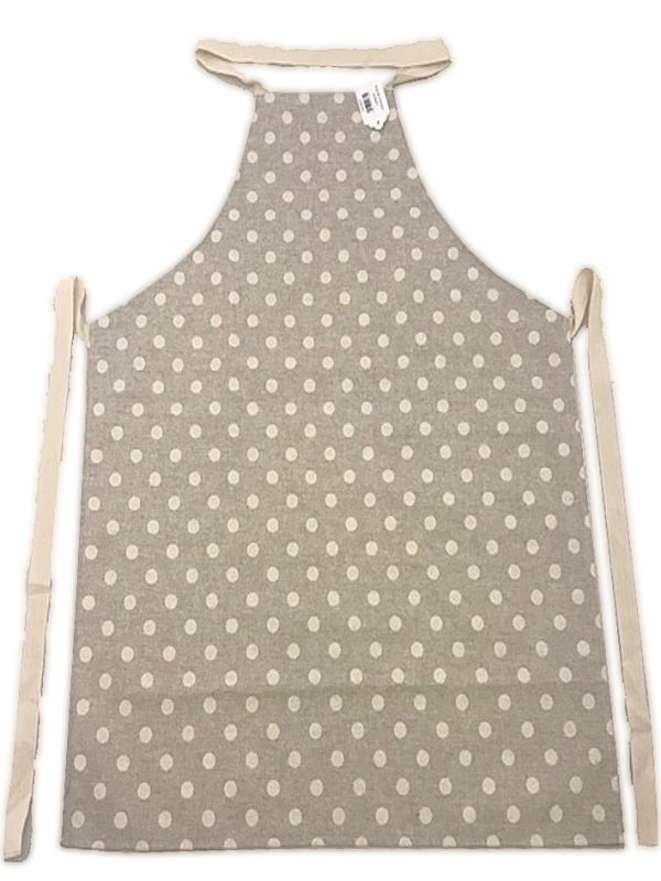 Full length apron beige polka dot