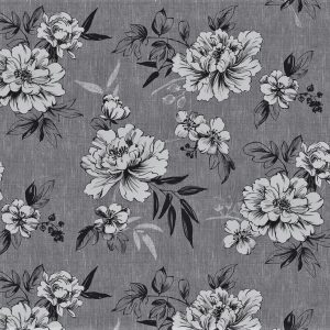 Charcoal flowers vinyl tablecloth
