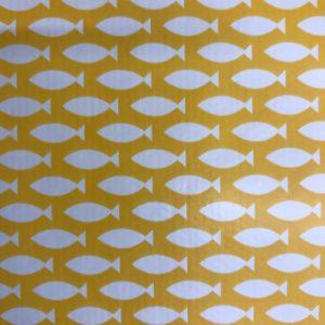 Yellow fish design vinyl tablecloth