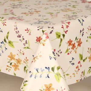 All over floral sprig vinyl tablecloth