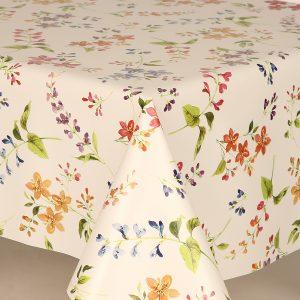 All over floral sprig vinyl tablecloth