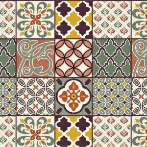 Victorian tile patchwork vinyl tablecloth