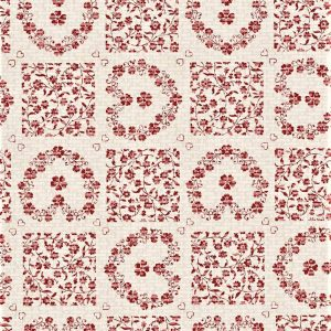 Red floral hearts tile vinyl tablecloth