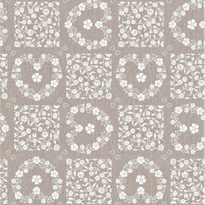 Oatmeal floral vinyl tablecloth