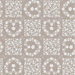 Oatmeal floral tile vinyl tablecloth