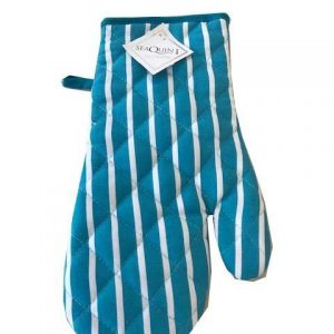 Blue butchers stripe single oven glove