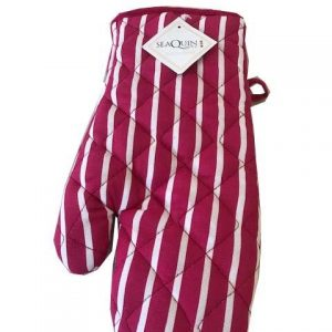 Pink butchers stripe single oven glove