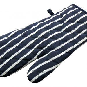 Navy butchers stripe single oven glove