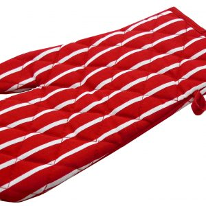 Red butchers stripe single oven glove