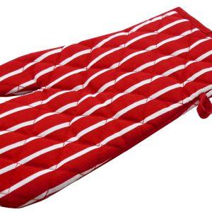 Red butchers stripe single oven glove
