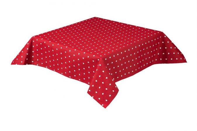 Hearts Square Red Tablecloth