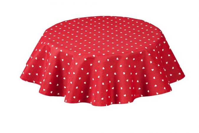 Hearts Round Red Tablecloth