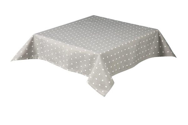 Hearts Square Grey Tablecloth