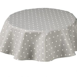 Hearts Round Grey Tablecloth