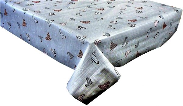 Chickens vinyl tablecloth in red and grey