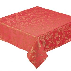 Red Jacobean tablecloth with gold leaf design