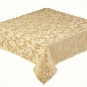 Jacobean gold round tablecloth in a 68 inch (173 cm)