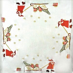 "Santa Sledge Tablecloth 34 x 34"" Square"