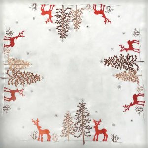 """Red Reindeer Tablecloth in a 34 x 34"""" Square"""