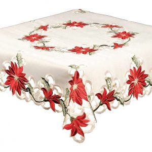 Red Poinsettia Tablecloth in a 34 x 34 inch square