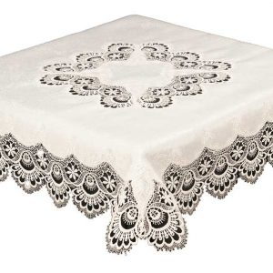Cream Macrame lace tablecloth in a 35 x 35 inch square