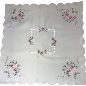 Pink embroidered square tablecloth