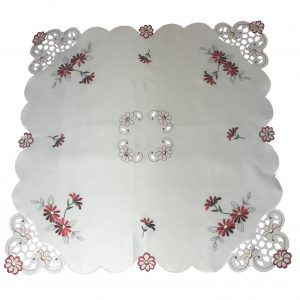 Red embroidered daisy tablecloth