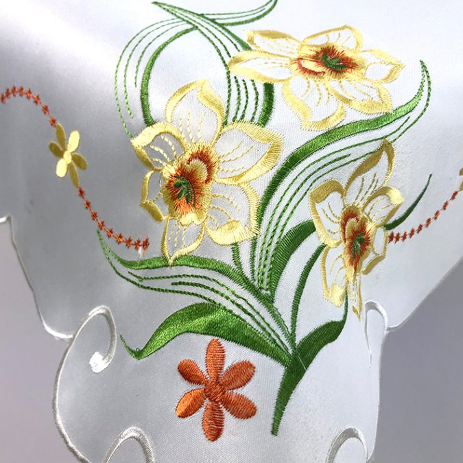 Yellow embroidered daffodil tablecloth