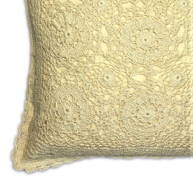 Cream lace cushion cover